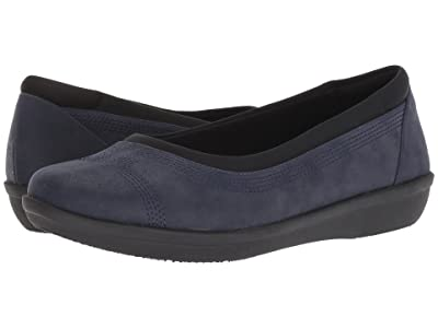 Clarks Ayla Low (Navy Synthetic Nubuck) Women