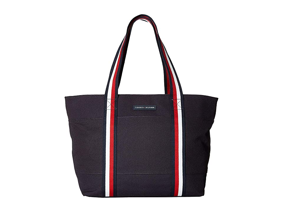 Tommy Hilfiger Flag Corporate Canvas North/South Tote (Navy) Tote Handbags