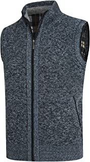 YOUTHUP Mens Knitted Gilet Fleece Lining Quilted Body Warmer Winter Thick Zipper Sleeveless Cardigan