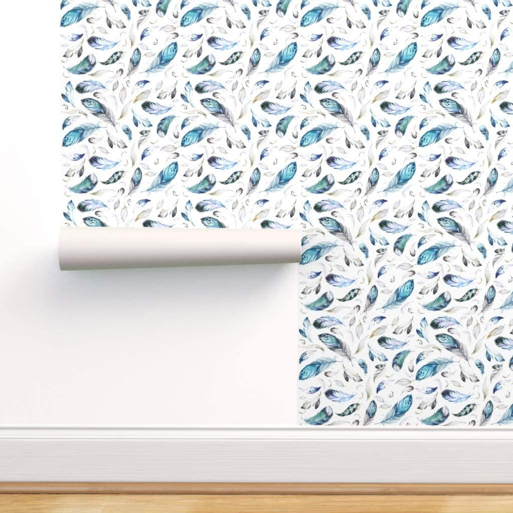 Removable 品質保証 Water-Activated Wallpaper - Nursery 国内正規品 Feathers Pink Blue