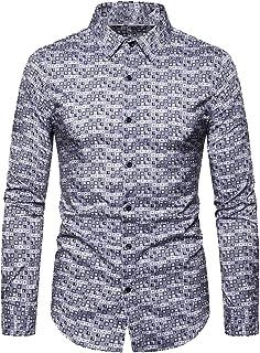 GAGA Men Lapel Button Pattern Print Blouses Long Sleeve Fashions Tops Casual T Shirt