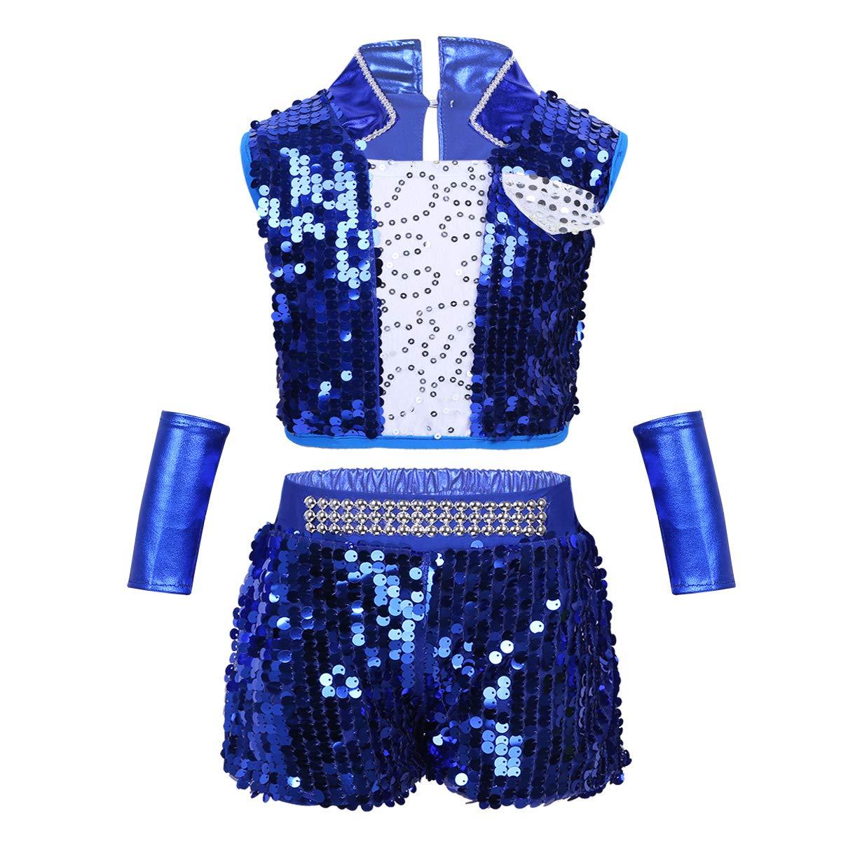 Kids Girls Cheerleaders Costumes Modern Jazz Dress Dance Performance Outfit Set