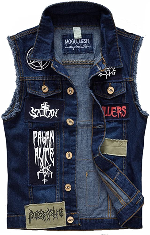 ZOOB MILEY Mens Jeans Vest Patch Designs Ripped Frayed Denim Waistcoat