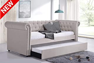 DANGRUUT Upgraded Version Best Upholstered Twin Daybed with Trundle, Mid-Century High End Classic Style Tufted Sofa Bed, Thicken Wood Frame, Linen Fabric, Weight Capacity 500lbs