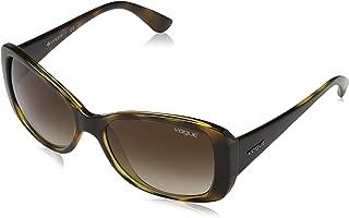 VOGUE Women's VO2843S Square Sunglasses, Dark Havana/Brown Gradient, 56 mm