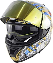 YZCM Motorcycle Dual Visor Full Face Helmet for Men Women, Unique Graphic DOT Approved Street Bike Motorbike Adventure Sno...