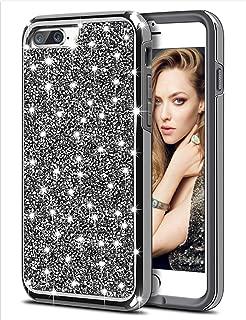 HoneyAKE Case for iPhone 7 Plus Case iPhone 8 Plus Case Glitter Bling Rhinestone Diamond Sparkly Crystal Handmade Shockproof Soft Bumper Hybrid Protective Phone Case for iPhone 7 Plus 8 Plus, Black
