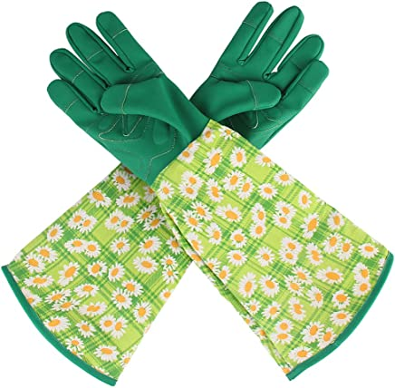 Gardening Gloves Long Leather Flower Print Gauntlet For Ladies Rose Pruning Garden Gloves Puncture Resistant Thorn Proof Yard Work Gloves For Men Women Yard Work Picking Trimming (Chrysanthemum)