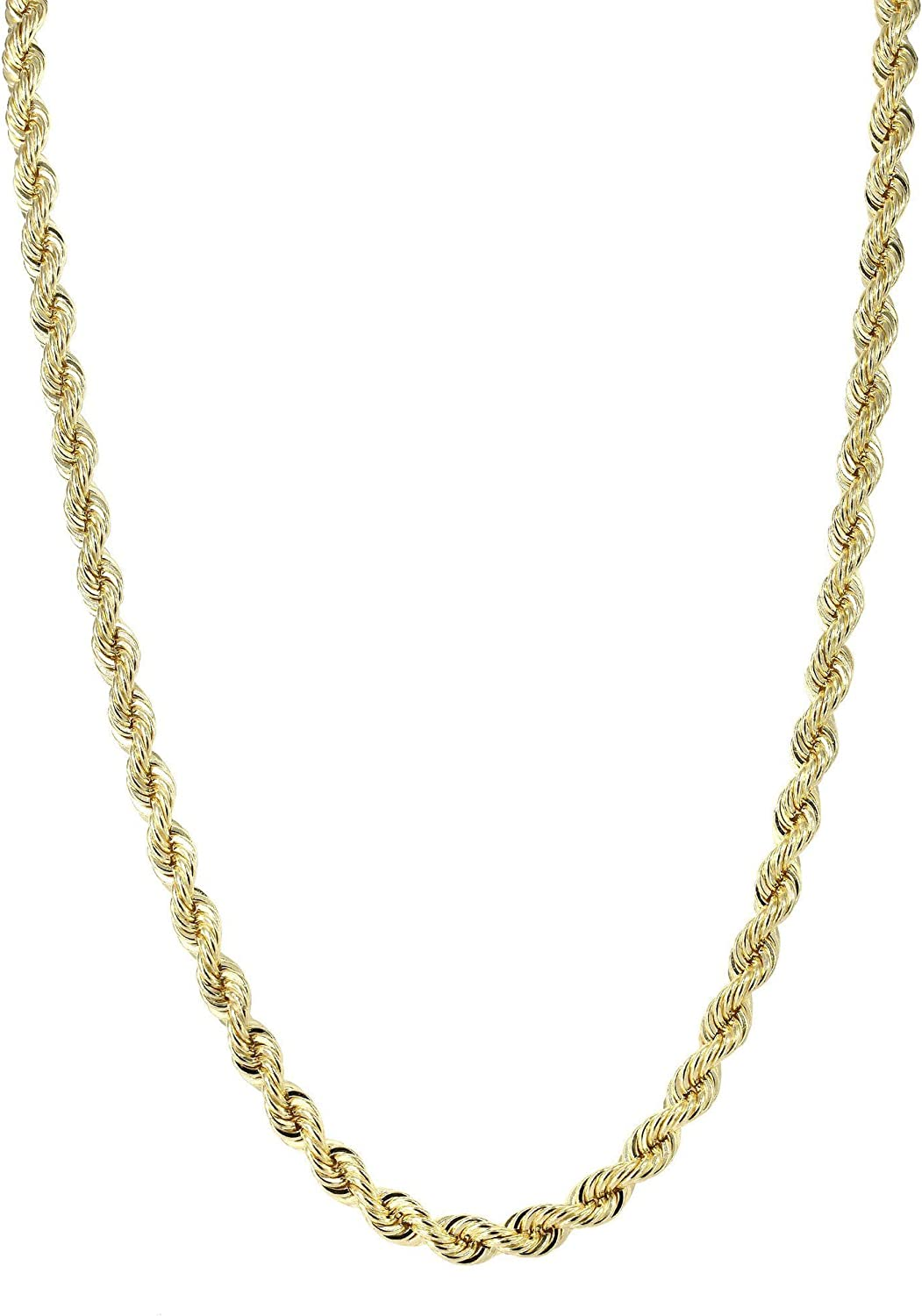 14k SOLID Yellow Gold 1.5mm Shiny Royal Solid Rope Chain Necklace for Pendants and Charms with Lobster-Claw Clasp (16