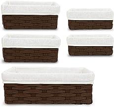 5 Piece Set Wicker Basket, Decorative Storage Baskets (Brown)