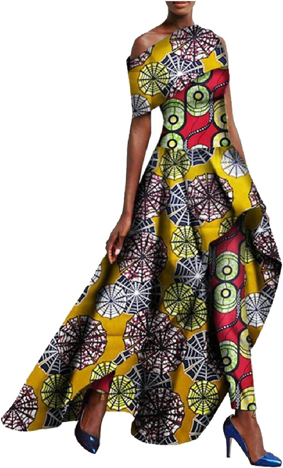 GAGA Women's African Ethnic Outfit Short Sleeve Long Top and Leggings Pant Set