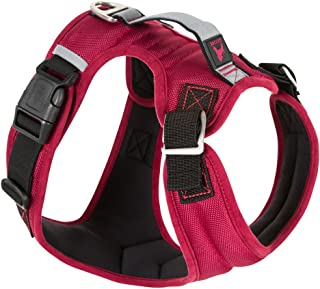 Gooby Pioneer Dog Harness with Control Handle & Seat Belt Restrain Capability, X-Large, Red