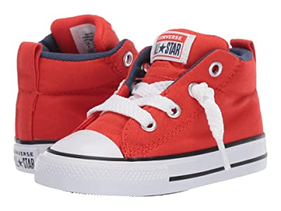 Converse Kids Chuck Taylor(r) All-Star(r) Street Moon Seasons Mid (Infant/Toddler) (Habanero Red/Navy/White) Boys Shoes