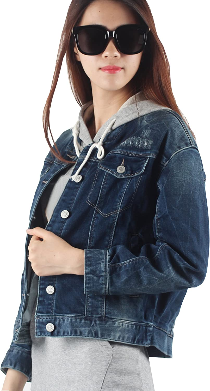 VANTOO Denim Jacket Long Sleeve Jean Baseball Jacket with Pockets and Patches for Women Vintage Navy bluee