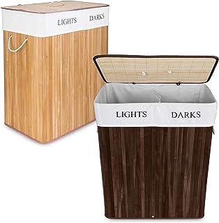 Goods & Gadgets Panier à Linge en Bambou, 100 L collecteur de Linge Boîte à Linge 2 Compartiments, trieur de Linge avec Sa...