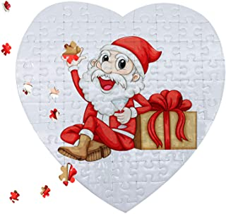 10 Sets Blank Sublimation Heart-Shaped Jigsaw Puzzle with 75 Pieces DIY Heat Press Transfer Crafts Thermal Transfer Puzzle...