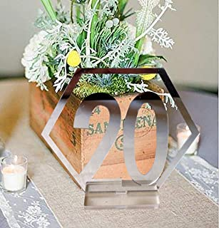 Fashionclubs Table Numbers, 1-20 Wedding Acrylic Table Numbers with Holder Base Party Card Table Holder,Hexagon Shape,Perfect for Wedding Reception and Decoration (Silver)