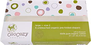 OsoCozy Organic Cotton Prefolds Traditional Fit Large 4x8x4 (6pk) - Fits 15-30 lbs