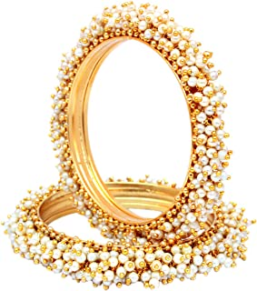 SANara الهندي التقليدي نمط الذهب مطلي لؤلؤة أساور أساور مجموعة مجوهرات الزفاف بوليوود للنساء