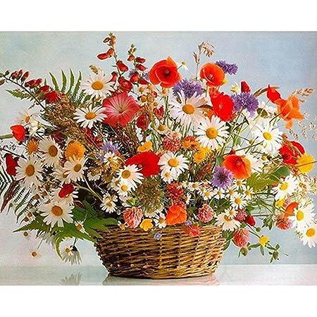 LovetheFamily 数字油絵 数字キット塗り絵 手塗り DIY絵 デジタル油絵 明るい花束 40x50cm ホーム オフィス装飾