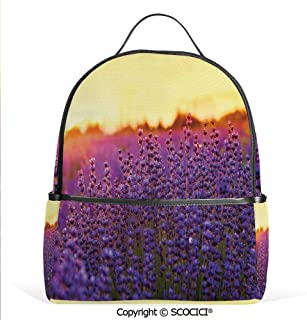 Lightweight Chic Bookbag Lavender Field in Summer near Tihany Hungary Agriculture Harvest Scent Aroma Decorative,Violet Mustard,Satchel Travel Bag Daypack