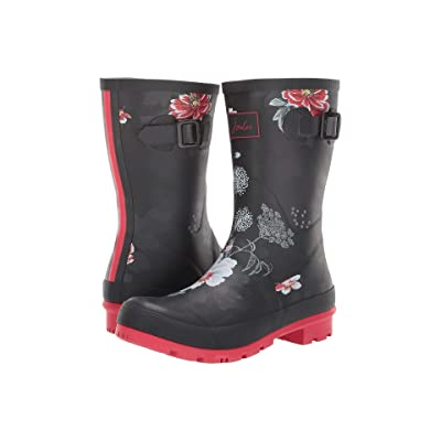 Joules Mid Molly Welly (Black Floral) Women