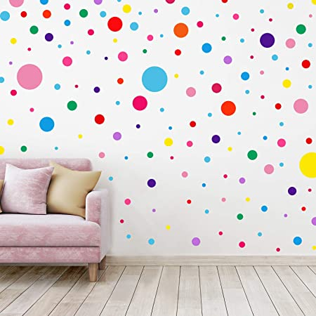 36Pcs//Set Watercolor Dot Wall Stickers Kids Rooms Decoration DIY Fade Resista SW