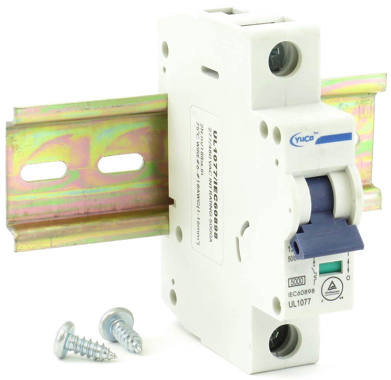 "YC-10-1B with 6"" Din Rail and 2 Screws Yuco Miniature Circuit Breaker B Curve 120/277/480VAC 115/220VDC (1 Pole, 10 Amp): Tools & Home Improvement"