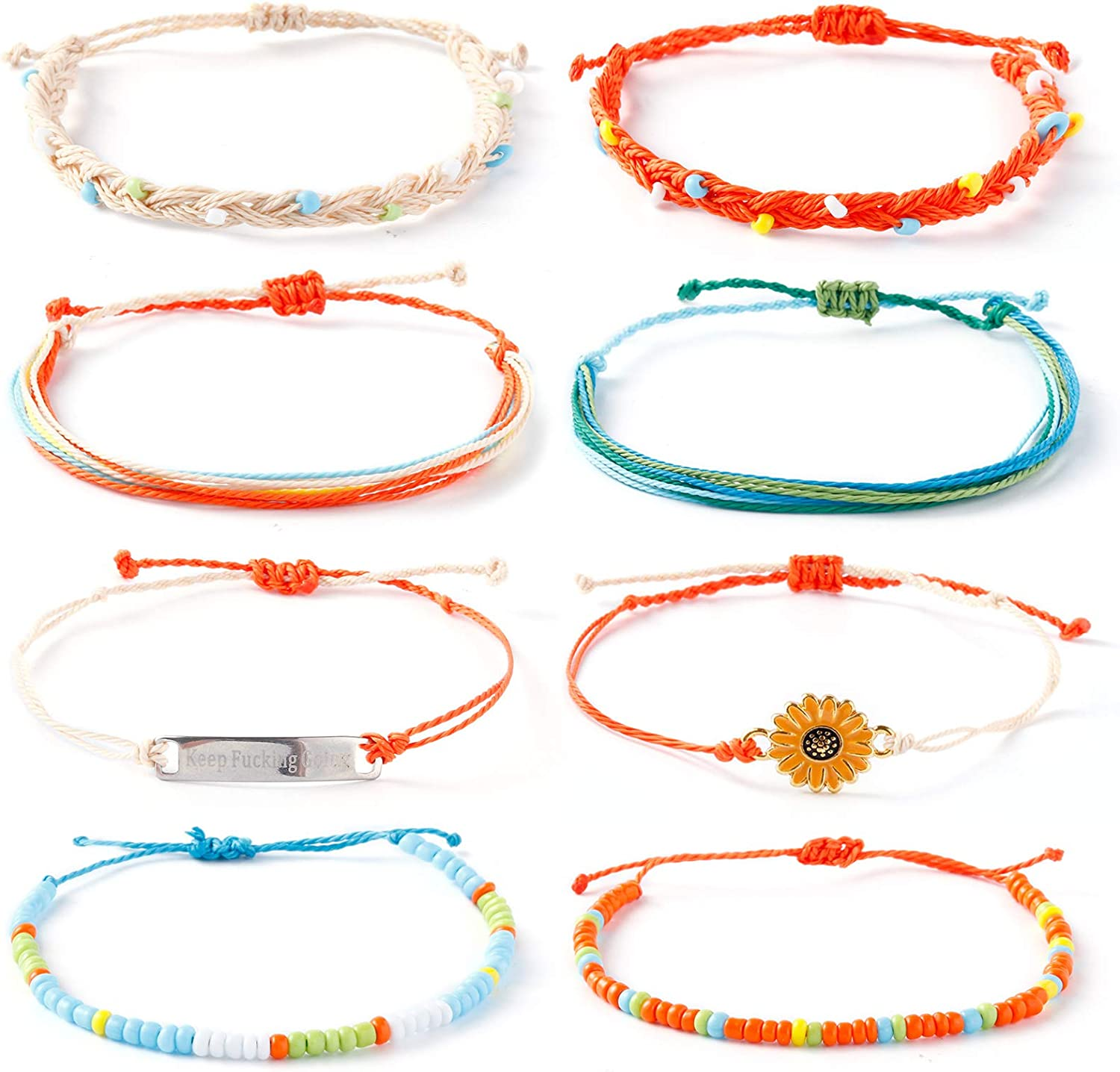 ISWAKI 4 Pcs Ankle Bracelets Braided Shell Feet Rope Coin Adjust