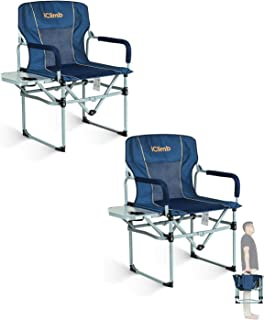iClimb Heavy Duty Compact Camping Folding Mesh Chair with Side Table and Handle (Navy - 2 PC)