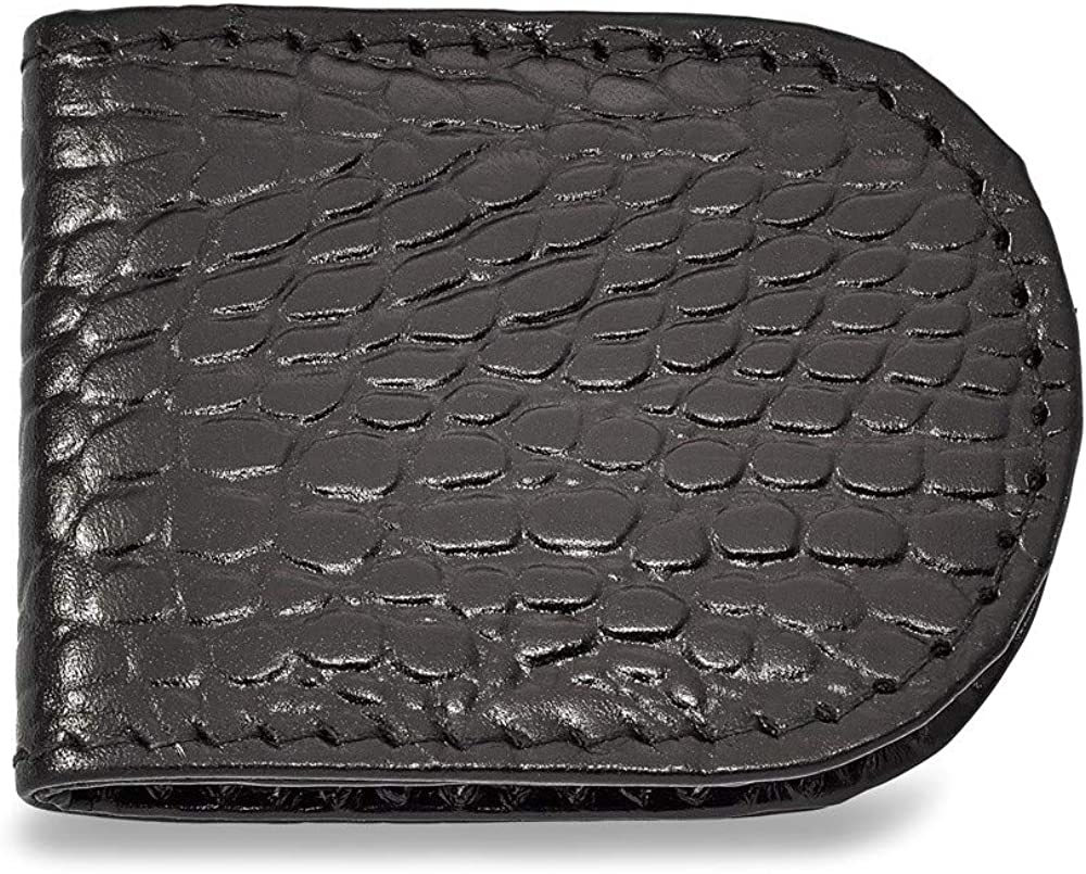 Solid Black Leather Crocodile Grain Slim Business Credit Card Holder Money Clip 2.5