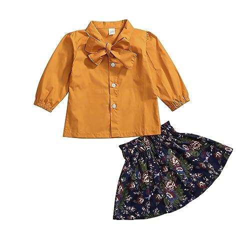 c5aac730f1c0bf Newborn Baby Girl Skirt Outfit Set Ruffle Bowknot Yellow Shirt Flower Skirt  Summer Dress Clothes
