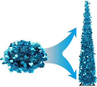 Joy&Leo 5 Foot Blue Sequin Pop Up Tinsel Christmas Tree, Easy to Assemble and Store, for Small Spaces Apartment Fireplace Party Home Office Store Classroom Xmas Decorations