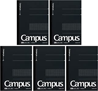 Kokuyo Campus Pre-Dotted Notebook, Semi A5, 5mm Grid Ruled - 40 Sheets - 80 Pages, Black (5 pack)
