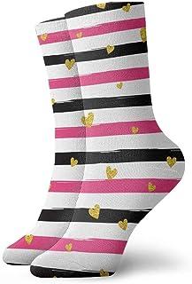tyui7, Calcetines de compresión antideslizantes de boda con rayas de corazón de oro negro rosa Calcetines de 30 cm acogedores para hombres, mujeres y niños