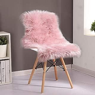 YOH Fluffy Rug Faux Sheepskin Rug Shag Area Rug Modern Imitation Sheepskin Plush Carpets Floor Mat Throw Chair Cover Seat Pad Baby Nursery Girls Room Rug for Bedroom Living Room Sofa(2 ft x 3 ft,Pink)