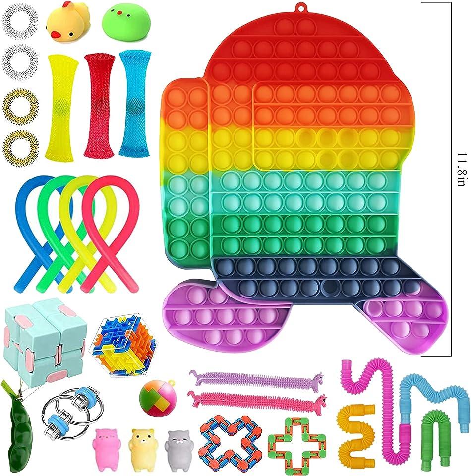 Fidget Toy Set, Big Fidget Pack Anti Stress Pop Bubble Sensory Fidget Toy with Pop Anxiety Tubes Fidget Spielzeug Set für Kinder
