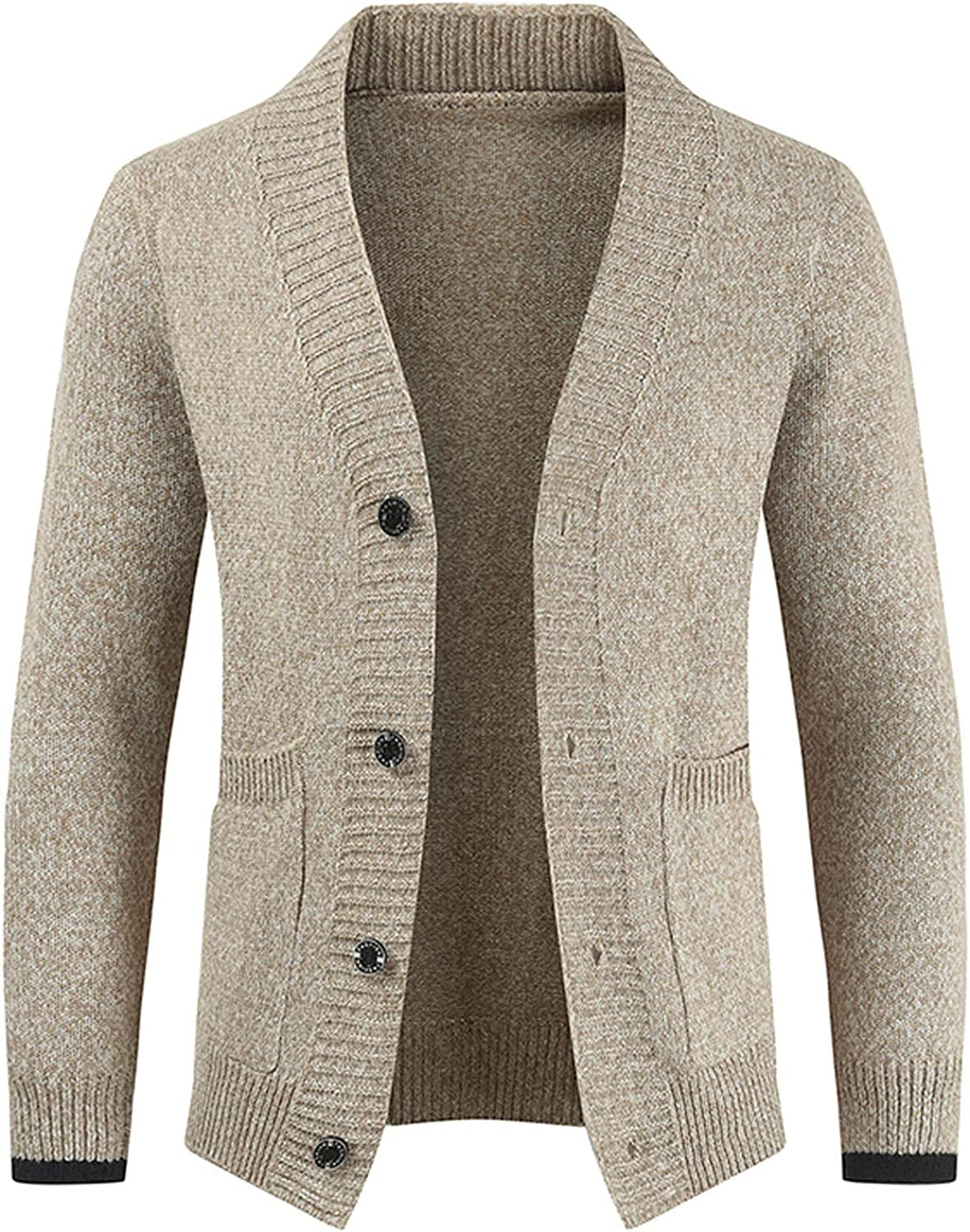 Huangse Mens Cable Knit Cardigan Sweater Loose Fit Long Sleeve Casual Cardigans Thick Warm V Neck Button Down Sweaters