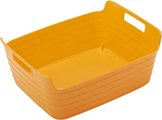 ECR4Kids Medium Bendi-Bins with Handles, Stackable Plastic Storage Bins for Toys and More, Orange