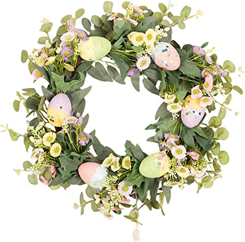 lowest OPTIMISTIC lowest Easter wholesale Spring Flower Wreath Eucalyptus Wreath with Flower and Easter Eggs for Front Door, Spring Wreath Hanging Decoraion, Farmhouse Decor Eucalyptus Wreath, Indoor Outdoor Use, Multi Color online