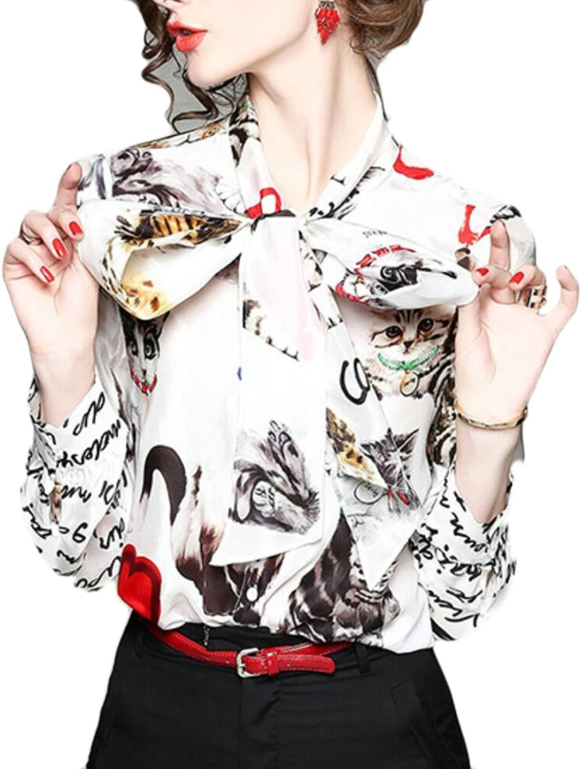 GAGA Womens Business Floral Printed BowTie VNeck Long Sleeves Blouses Casual Tops