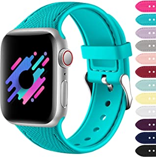 Zekapu Compatible with Apple Watch Band 38mm 40mm 42mm 44mm, Soft Silicone Sport Band Compatible with iWatch Series 5/4/3/2/1
