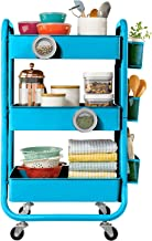DESIGNA 3-Tier Metal Rolling Utility Cart with Handle, Craft Art Carts & Extra Office Storage Accessories Turquoise