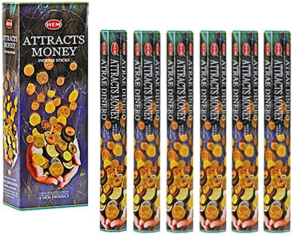Attracts Money Box Of Six 20 Gram Tubes HEM Incense