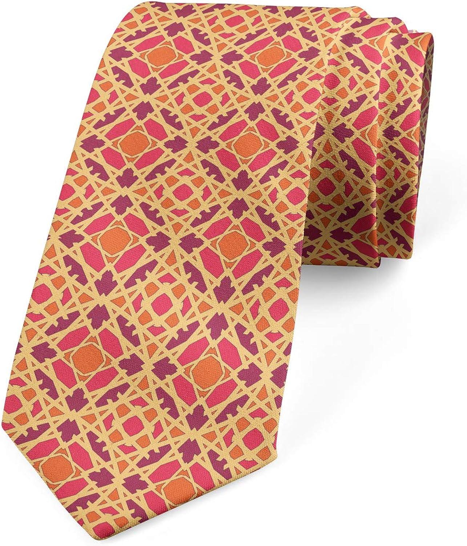 Ambesonne Necktie, Ornamental Shapes Mosaic, Dress Tie, 3.7