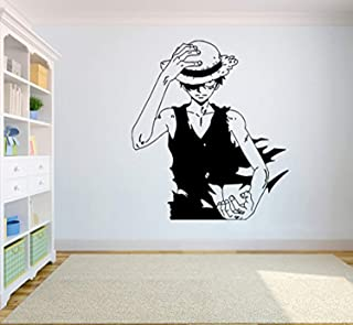One Piece Wall Vinyl Decal Top Anime Wall Art Monkey D. Luffy Vinyl Sticker Decor for Home Bedroom Design SC7(22x25)