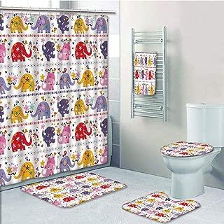 Bathroom 5 Piece Set Shower Curtain 3D Print Multi Style,Nursery,Cute Elephants Happy Dancing Animals in Combinations Birds Flowers,Multicolor,Bath Mat,Bathroom Carpet Rug,Non-Slip,Bath