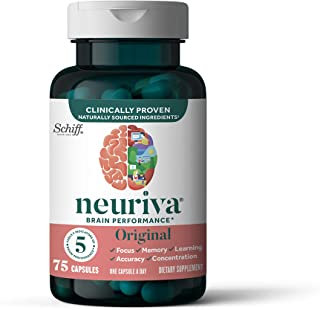 Nootropic Brain Support Supplement - NEURIVA Original Capsules (75 count in a bottle) Phosphatidylserine, Gluten Free, Dec...