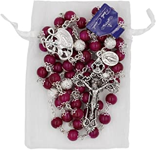 Paola Carola 8mm Double Capped Bead Rosary Purple Amethyst Marbled Color