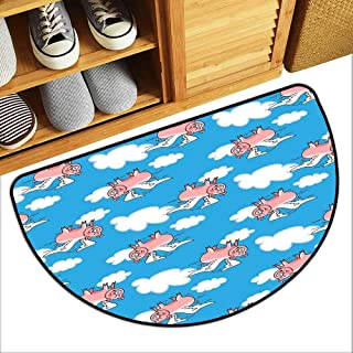 MKHUFCLE Interior Door mat Pig Decor Flying Pig Cartoon Characters with Wings to Represent The Saying Super Absorbent mud W31 xL20 Great Kid Clouds